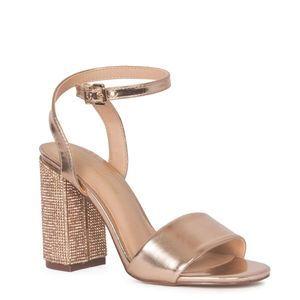 NWOT Lauren Lorraine Julia Rose Gold Block Heels